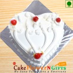 send  1Kg Heart Shape Eggless Vanilla Cake delivery