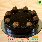 send 1kg Ferrero Rochers Chocolate Eggless Cake delivery