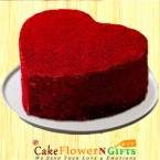 send Half Kg Red Velvet Heart Shape Cake delivery