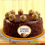 send Order1kg Ferrero Rochers Chocolate Cake Delivery