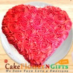 send Order1 kg Heart Shaped Rose Chocolate Cake Delivery