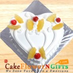 send 1 Kg Heart Shape Pineapple Cake delivery