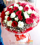 send Designer White Red Roses Flower Bouquet delivery