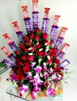 send Orchids Roses Chocolate Bouquet delivery