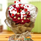 send Ferrero Rocher Chocolate Teddy Bouquet delivery