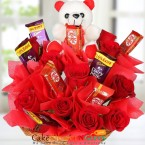 send Roses Teddy Chocolate Bouquet delivery