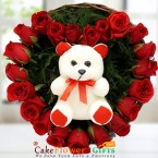 send heart shape basket arrangement of Roses n teddy delivery