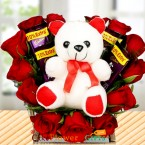 send teddy flower chocolate bouquet delivery