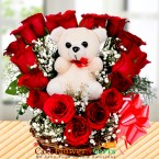 send roses teddy heart shape basket delivery