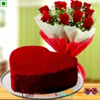send half kg Eggless heart shaped red velvet cake n roses flower bouquet delivery