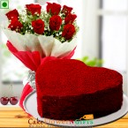 send 1 kg heart Eggless shaped red velvet cake n roses flower bouquet delivery