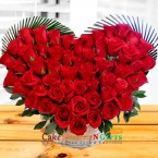 send heart shaped basket of 50 red roses  delivery
