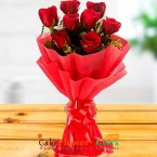 send 8 red roses paper packing bouquet delivery