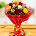 send 10 red roses paper packing bouquet delivery