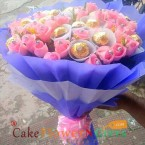 send 16 pink roses bouquet n 16 ferrero rocher chocolates bouquet delivery