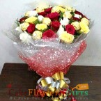 send 16 mix roses bouquet n 16 ferrero rocher chocolates bouquet delivery