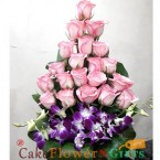 send 21 pink roses and 3 orchid designer bouquet delivery