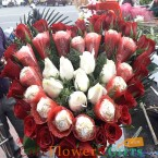 send Heart Shape 30 Roses n 16 Ferrero Rocher Chocolate Bouquet delivery