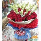 send rajanigandha n roses bouquet delivery