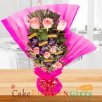 send pink roses chocolate bouquet delivery