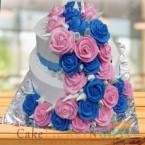 send 2 tier roses vanilla cake 3 kg delivery
