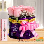 send rakhi n roses chocolate bouquet delivery
