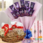 send half kg dry fruits chocolate bouquet n rakhi delivery