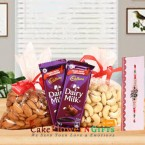 send almonds cashew dry fruit 2 dairy milk n rakhi delivery