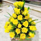send yellow roses flower basket delivery