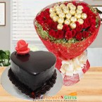 send half kg chocolate truffle heart shape cake n roses chocolate bouquet delivery