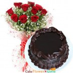 send Order500gms Chocolate Truffles Cake with Red Roses Bunch Delivery