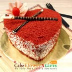 send Orderhalf kg red velvet heart shape cake Delivery
