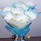 send 10 white gerberas bouquet paper packaging delivery
