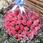send romantic 100  pink roses basket delivery