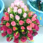 send romantic mix 50  pink roses basket delivery