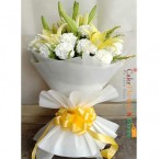 send romantic white carnations and lilies bouquet delivery