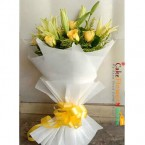 send romantic yellow roses and lilies bouquet delivery