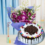 send 1kg black eggless forest gems cake and orchid bouquet delivery