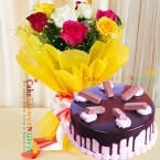 send 1 kg eggless kitkat chocolate cake 10 mix roses delivery