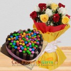 send eggless 1kg kitkat gems chocolate heart shape cake n roses bouquet delivery