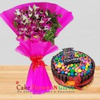 send eggless 1kg kitkat gems chocolate heart shape cake n orchids bouquet delivery