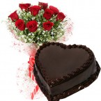 send eggless half kg heart shape chocolate truffle cake n 10 red roses bouquet delivery