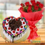 send 1 n half kg eggless Black Forest Gems Heart Shape Cake And 15 Roses Bouquet delivery
