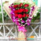 send 12 red roses and 4 purple orchids bouquet delivery