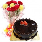 send Chocolate Truffle Cake Half Kg N Carnations Bouquet delivery
