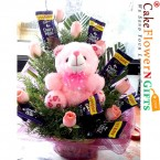 send pink roses teddy chocolate bouquet delivery