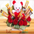 send red roses teddy five star chocolate bouquet delivery