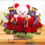 send red roses teddy dairy milk chocolate bouquet delivery