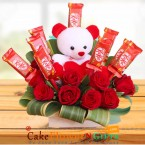 send red roses teddy kitkat chocolate bouquet delivery