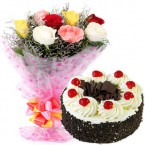 send 500gms Black Forest Cake with Mix Roses Bunch delivery